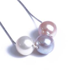 浣纱珍珠  珍珠吊坠 8-9项链三珠圆珠