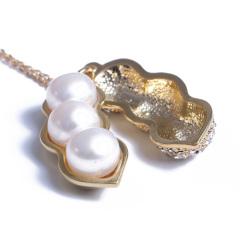 浣纱珍珠  珍珠吊坠 四季发财豆吊坠 戴链 钛钢