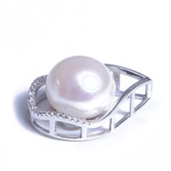 浣纱珍珠  珍珠吊坠 11-12 近圆珍珠纯银吊坠白色