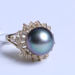 爱上珍珠 精美珍珠戒指 14K戒指空托 黑色海水珍珠