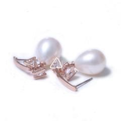 千禧珠宝  珍珠耳环  10-11 925银托 粉色、白色