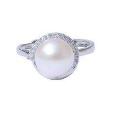 千禧珠宝  珍珠戒指 9-10珍珠戒指 淡水 925银托