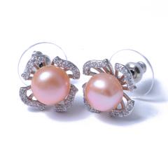 千禧珠宝 黄金珠宝 珍珠耳环 淡水 925银针