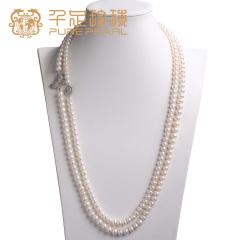 千足珠宝 近圆强亮细小微瑕8-8.5/9-9.5mm淡水珍珠长款项链毛衣链 白色  蝴蝶款 8-8.