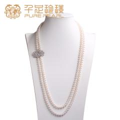 千足珠宝 7.5-8.5mm淡水珍珠长款项链毛衣链 白色 7.5-8.5mm 90cm