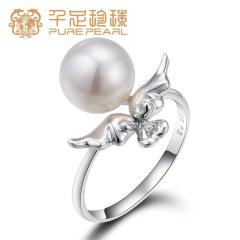 千足珍珠天使之灵正圆光洁强光8.5-9mm淡水珍珠18k金 白色14# 8.5-9mm