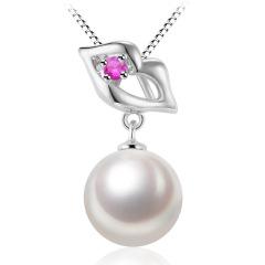 千足珍珠香艳红唇8-8.5mm淡水珍珠 珍珠项链 白色 玫红色锆石 8-8.5mm 吊坠长约19mm