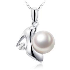 千足珍珠舞媚圆润强光8-8.5淡水珍珠银吊坠项链珍珠吊坠 白锆石 8-8.5mm 吊坠长2.0cm左