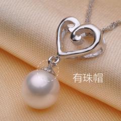 千足珠宝幸符圆润光洁强光8mm淡水珍珠银吊坠项链爱心款 白色 有珠帽 8mm 吊坠长2.0cm左右