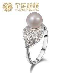 千足珠宝絮暖正圆强亮莹润光洁8mm淡水珍珠银女款银戒指 白色  14号 8mm
