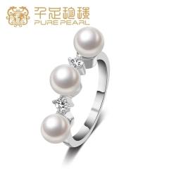 千足珠宝洛伊近圆润白强光5.5mm淡水珍珠女款银戒指 白色  12号 5.5mm
