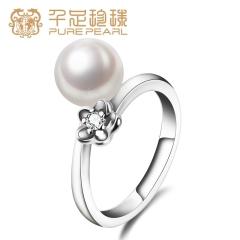千足珠宝樱韵正圆亮白强光8.5-9mm淡水珍珠女款银戒指 白色  16# 8.5-9mm