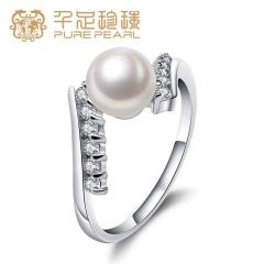 千足珠宝 绮遇正圆强亮6.5-7mm珍珠女款银戒指送女友工厂 白色14号 6.5-7mm