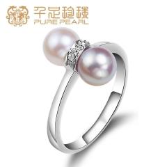 千足珠宝 旅伴 近圆强光6-6.5mm珍珠女款925银戒指 白色 稀有色  15# 6-6.5mm