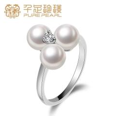 千足珠宝祈爱圆润光洁强光6-6.5mm淡水珍珠女款银戒指新品 白色  16# 6-6.5mm