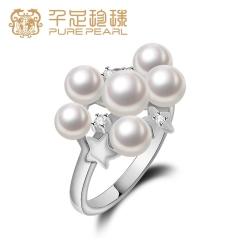 千足珠宝星空正圆光洁强光淡水珍珠花式女款银戒指送女友 白色13# 4-6mm