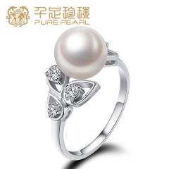 千足珍珠 婧韵8.5-9mm正圆饱满净白淡水珍珠戒指 白色  14 # 8.5-9mm