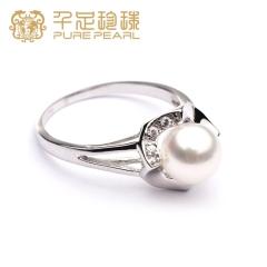 千足珠宝妙仪正圆强光基本光洁7.5-8mm淡水珍珠银女款银戒指 白色  15号 7.5-8mm
