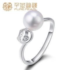 千足珠宝招财猫系列 7-7.5mm近圆淡水珍珠925银戒指 白色 7-7.5mm