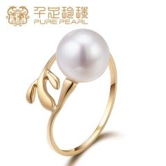 千足珍珠 翩叶 正圆光洁强光淡水珍珠18K金戒指 新品上市 白色珍珠 开口戒指 7.5-8mm