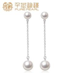 千足珠宝傲熏圆润光洁强光6-6.5/8.5-9mm淡水珍珠银耳饰 白色可拆卸 6-6.5/8.5-9