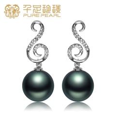 千足珍珠 瑶珂 轻奢正圆强亮11-11.5mm大溪地黑珍珠银耳环 黑色 11-11.5mm