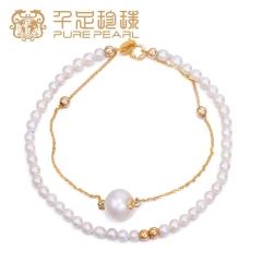 千足珠宝3-3.5/8.5-9mm强光淡水小珍珠花式手链 白色 3-3.5/8.5-9mm 约17c