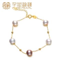 千足珍珠 五彩环 7.5-8.5mm强光淡水珍珠18K金花式手链 混彩 7.5-8.5mm 约17c