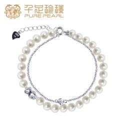 千足珠宝炜琦近圆强亮光洁5.5-6mm淡水珍珠银手链送女友 白色 5.5-6mm 约17cm左右
