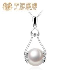 千足珠宝咏梦近圆润白光洁10.5-11mm淡水珍珠银吊坠项链 白色 10.5-11mm 吊坠长约31