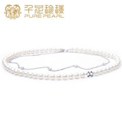 千足珠宝 潇扬 近圆强光基本光洁镶锆石6.5-7mm双层珍珠项链 白色 6.5-7mm 43cm左右