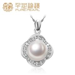 千足珠宝 淡水珍珠 怒放10mm馒头圆光洁强光吊坠S925银项链 白色 10mm 坠子长约25mm