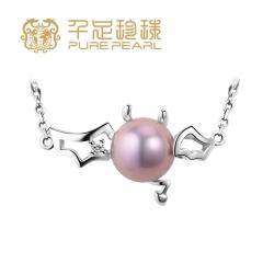 千足珠宝晓魔近圆光洁强光8-8.5mm淡水珍珠银吊坠项链 紫色 8-8.5mm 吊坠长2.0cm左右