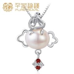 千足珍珠 小丑系列 7.5-10mm米形淡水珍珠吊坠小丑造型俏皮活泼 白色 7.5-10mm 45c