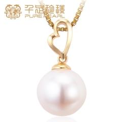 千足珍珠 蜜馨 心形18K金正圆强光淡水珍珠吊坠送银链 白18K金 9-9.5mm 43cm