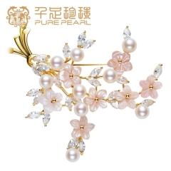 千足珍珠胸花 樱漫 妈妈款淡水珍珠胸针外套配饰 银色 5.5-6mm