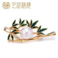 千足珠宝 冬竹 淡水珍珠胸针别针 女 白色 10.5mm