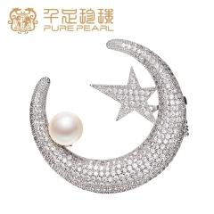 千足珍珠 胸花 8.5-9mm 淡水珍珠胸针 外套毛衣配饰 白色 8.5-9mm