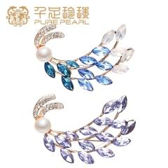 千足珍珠 胸花 8.5-9mm 淡水珍珠胸针 外套毛衣配饰 蓝色锆石 8.5-9mm