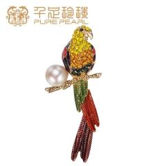 千足珠宝 鹦鹉近圆强光11-12mm淡水珍珠胸针新品 白色 11-12mm