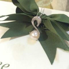 辰轩珠宝 精美珍珠项链 纯银天鹅挂件 珠子规格9-10mm淡水