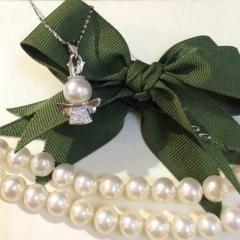 辰轩珠宝 精美珍珠项链 白色小天使 纯银 珠子8-9mm正圆无瑕