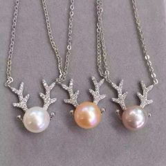 辰轩珠宝 精美珍珠项链 一鹿顺丰 纯银 珠子9-10mm