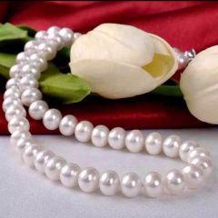 辰轩珠宝 精美珍珠项链 9-10mm馒头珠 微瑕 43公分