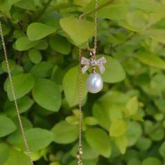 辰轩珠宝 精美珍珠项链 彩银挂件 10-11mm椭圆珠 9-10mm扁圆珍珠