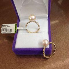 辰轩珠宝 精美珍珠戒指 14k麻花戒指 7.5-8mm akoya日本海珠