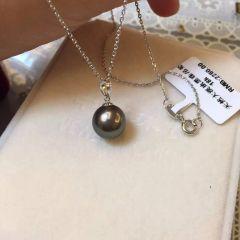 辰轩珠宝 精美珍珠项链 18k瓜子头搭配11-12mm大溪地黑珍珠 正圆无瑕