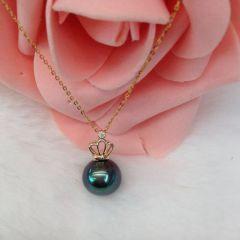 辰轩珠宝 精美珍珠项链 10-11mm孔雀绿黑珍珠 14k皇冠头子 18k金链