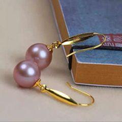 辰轩珠宝 精美珍珠项链 18k金耳钩 8-9mm淡水正圆珠