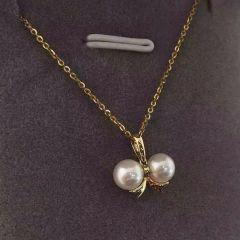 辰轩珠宝 精美珍珠套装 项链 耳钉18k蝴蝶结 5.5-6mm akoya